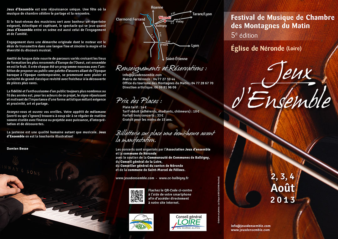 5e édition du festival de chambre des Montagnes du Matin plaquette recto