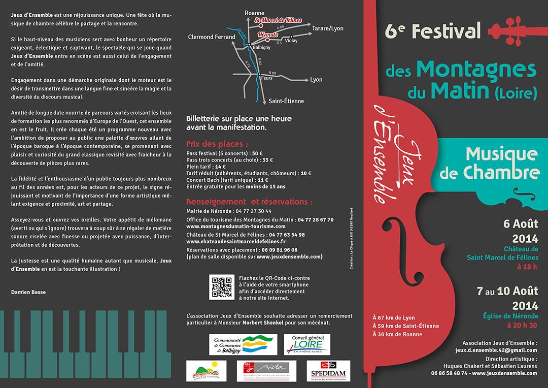 6e édition du festival de chambre des Montagnes du Matin plaquette recto