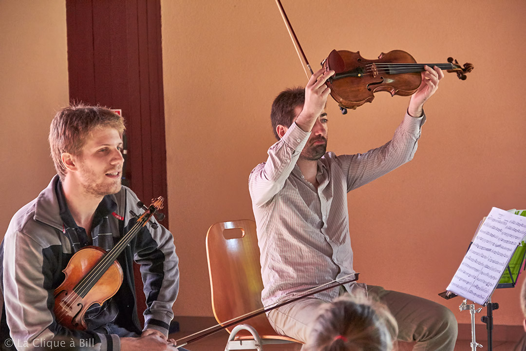 Atelier pédagogique pour écoles par 4 des musiciens de Jeux d'Ensemble