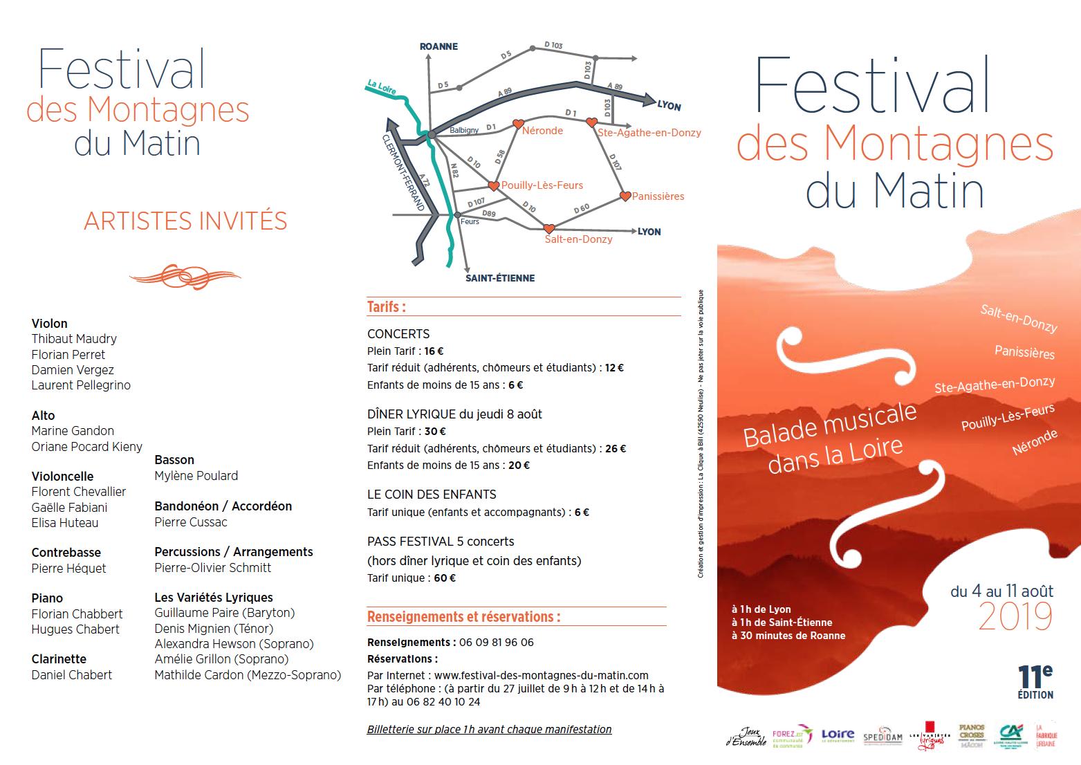 Plaquette recto du 11e Festival des Montagnes du Matin